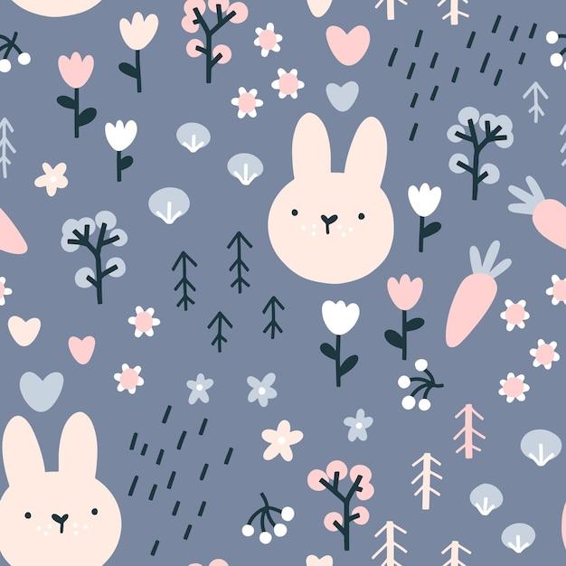 森のウサギのシームレスなパターン。 Premiumベクター