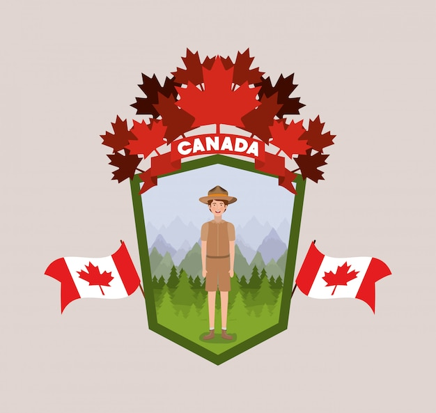 Forest ranger boy cartoon and canada Free Vector