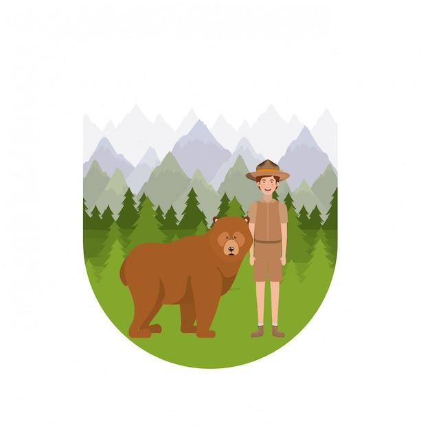 Forest ranger boy cartoon Free Vector