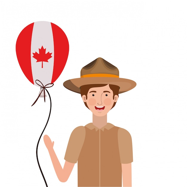 Forest ranger boy cartoon Free Vector