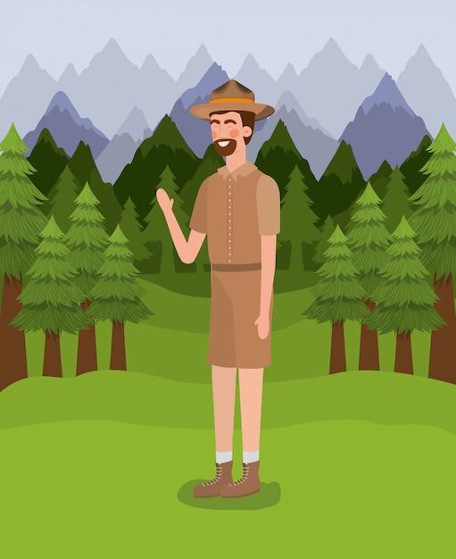 Forest ranger man cartoon Free Vector