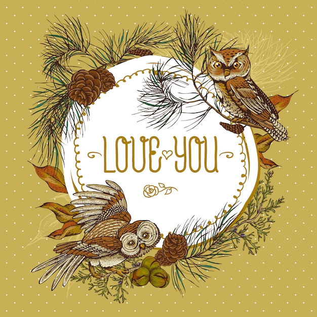Forest round frame with owls, spruce and fir cones Premium Vector
