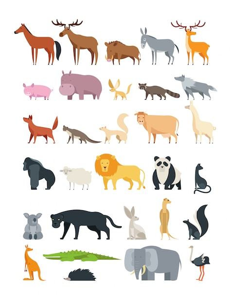 Forest, savannah and farm animal  collection isolated on white Premium Vector