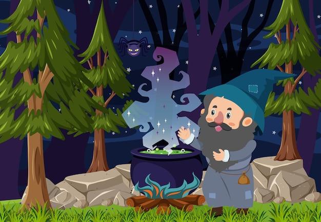 물약 냄비로 철자하는 마법사가있는 밤의 숲 장면 프리미엄 벡터