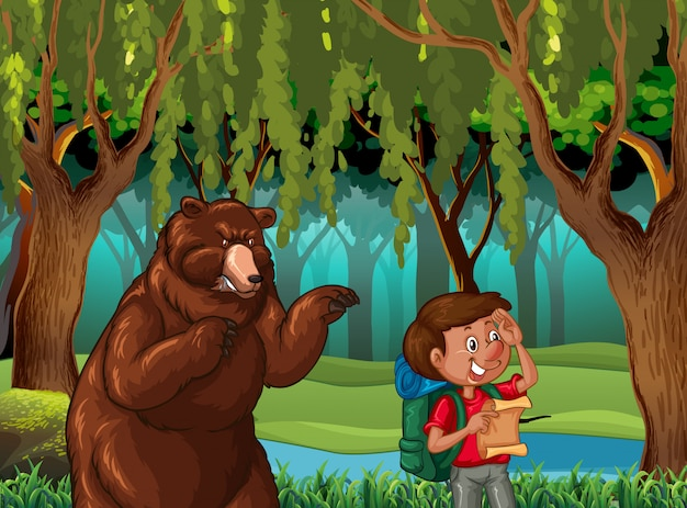 Forest scene background with hiker and bear Free Vector