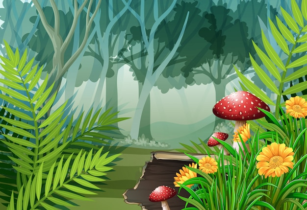 Forest scene with trees and flowers Premium Vector