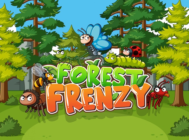 Forest scene with word forest frenzy with wild animals Premium Vector