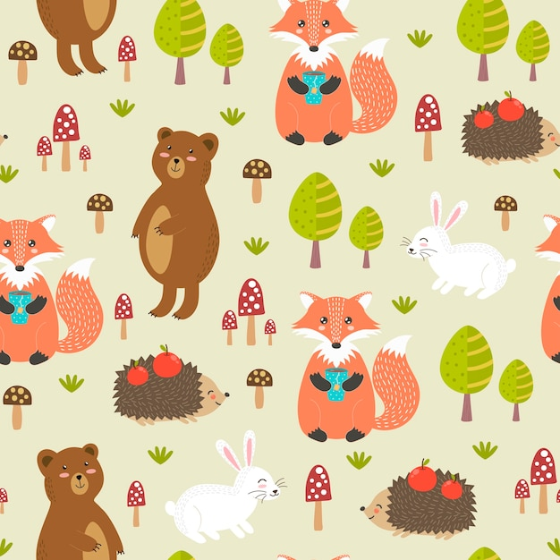 Forest seamless pattern with cute animals Premium Vector