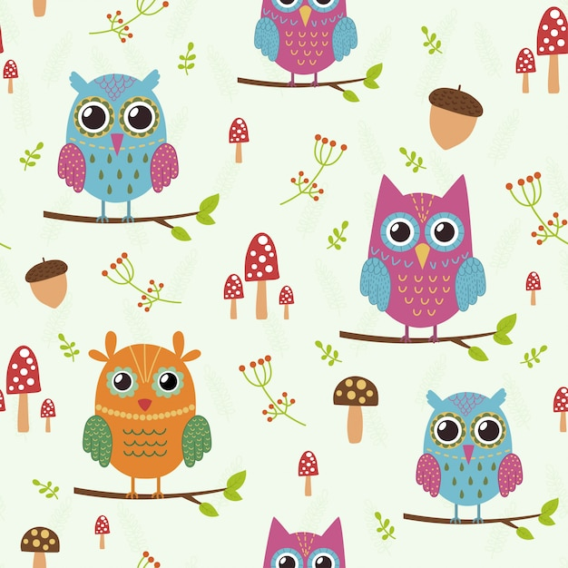 Forest seamless pattern with cute owls. Premium Vector