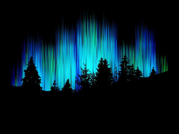 Forest silhouette against the background merry dancers. Premium Vector