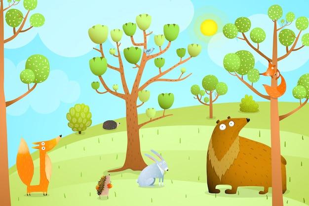 動物と森の夏の風景 Premiumベクター
