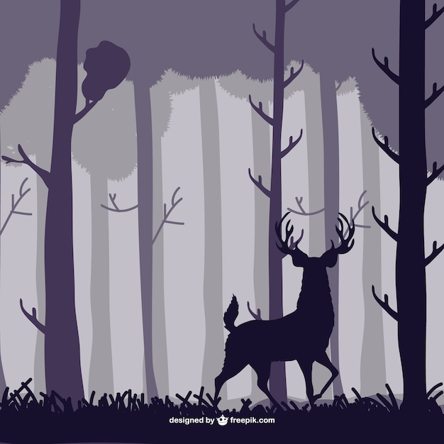 Forest trees and deer silhouettes Free Vector