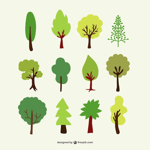 Forest trees set Free Vector