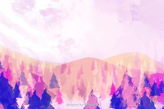 Forest watercolor landscape background Free Vector