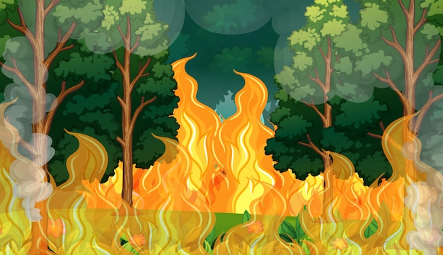 A forest wildfire disaster Premium Vector