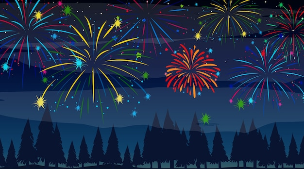 Forest with celebration fireworks scene Free Vector