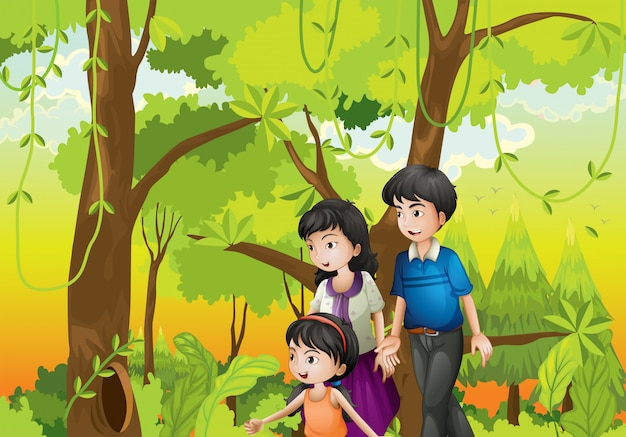A forest with a family Premium Vector