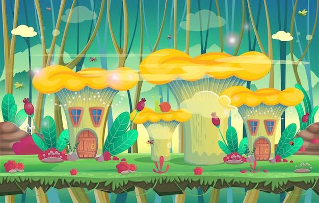 キノコの家のある森。ゲームのベクトル図 Premiumベクター