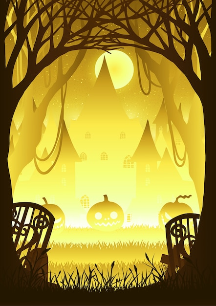 Forest with pumpkin on halloween night. Premium Vector
