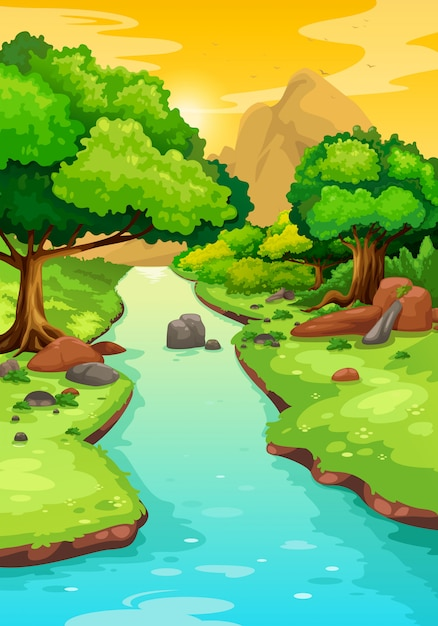 Forest with a river background Premium Vector