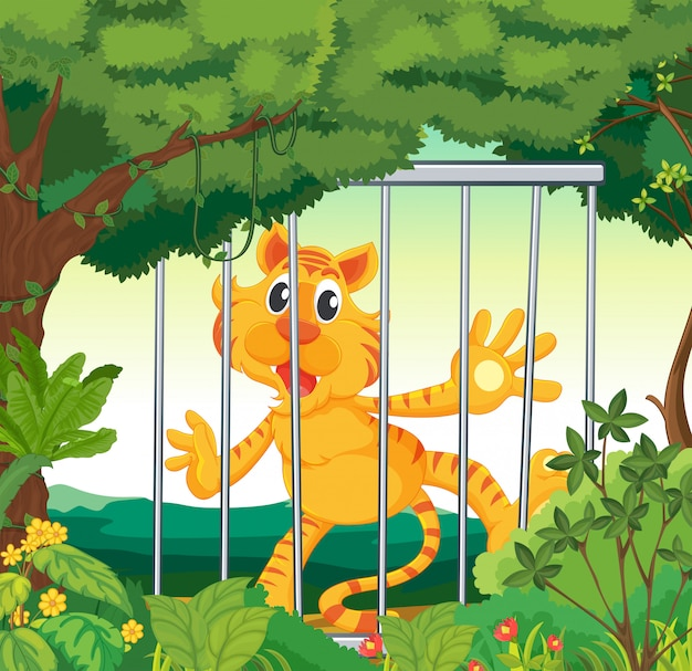 A forest with a tiger inside a cage Premium Vector
