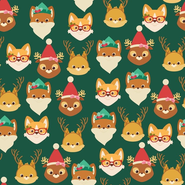 Forest/woodland and domestic animals. christmas seamless pattern or wallpaper Premium Vector