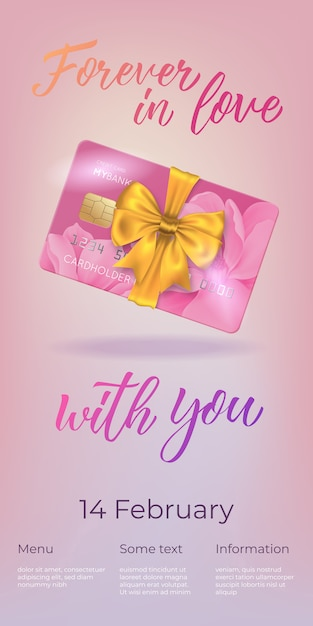 Forever in love with you lettering and plastic card with bow Free Vector
