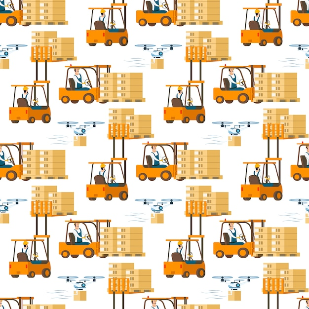 Forklift car full of box and flying drone pattern Free Vector