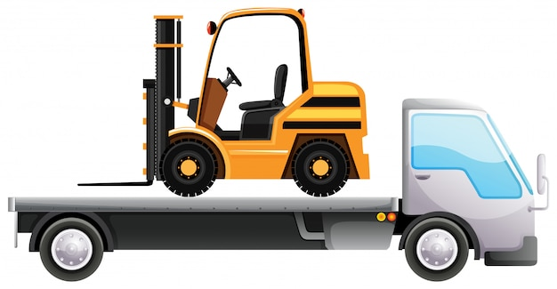 Forklift on flatbed truck on isolated Free Vector
