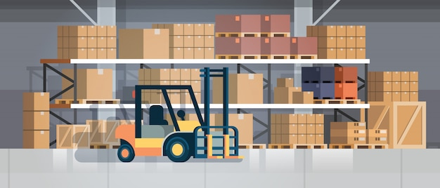Forklift loader pallet stacker truck equipment warehouse interior, rack box international delivery concept flat horizontal Premium Vector