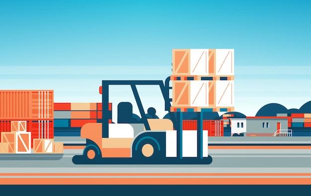Forklift loader pallet stacker truck equipment warehouse international delivery concept flat horizontal Premium Vector