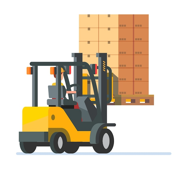 Forklift truck carrying a stacked boxes pallet Free Vector