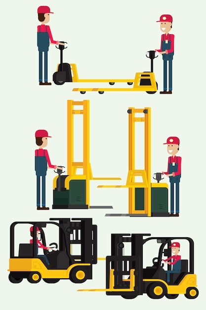 Forklift truck with human worker and worker man towing hand fork lifter. illustration vector Premium Vector