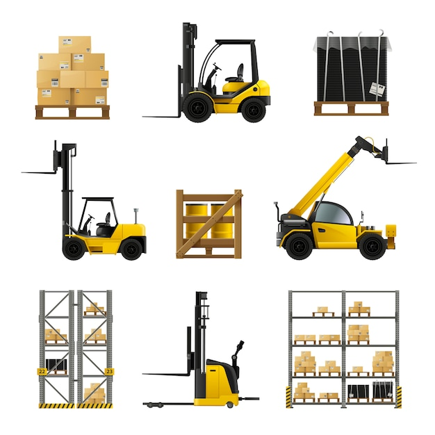 Forklift and warehouse realistic icons set Free Vector