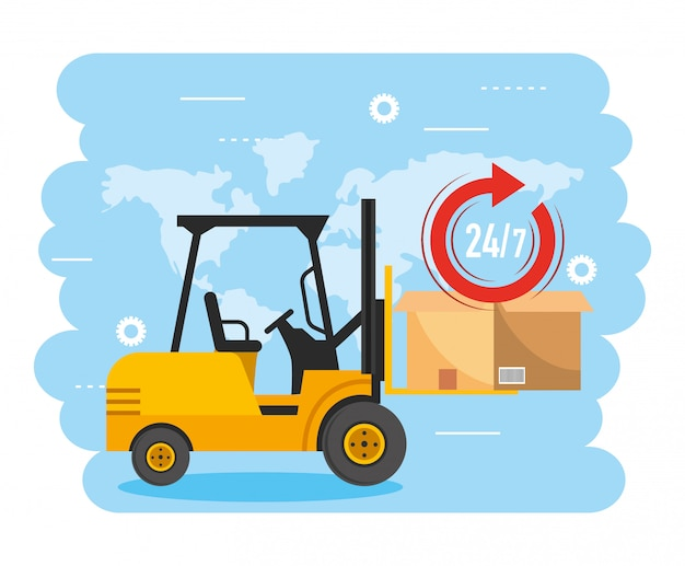 Forklift with box package and delivery service Premium Vector