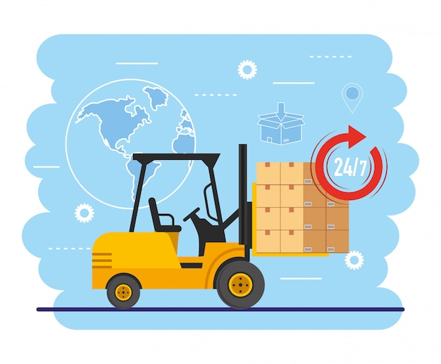 Forklift with boxes package and map location Premium Vector