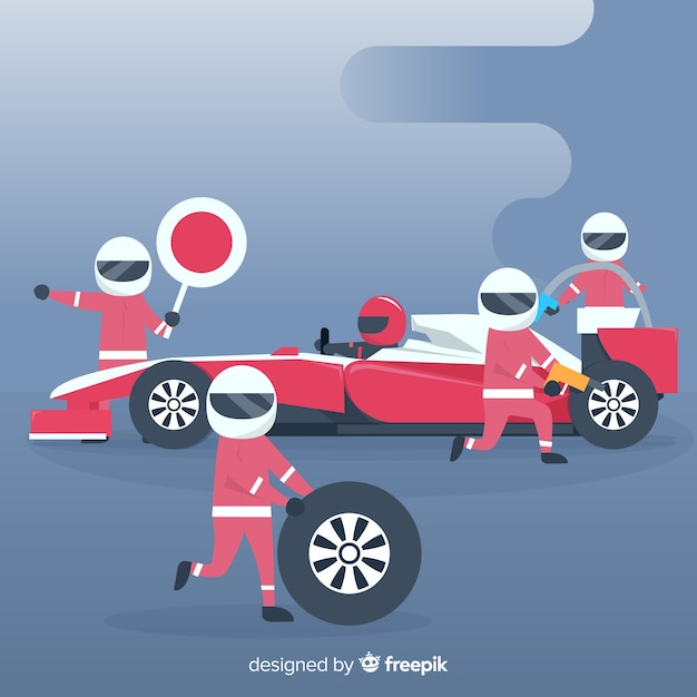 Formula 1 background with pit stop\ workers