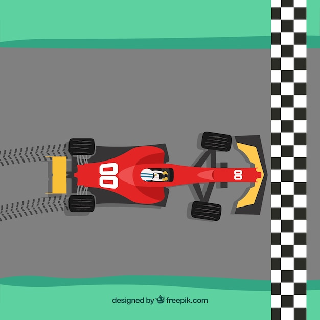 Formula 1 car crossing finish line