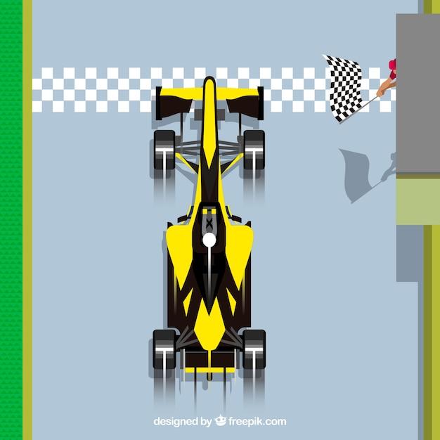 Formula 1 car passing finish line Free Vector