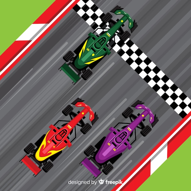 Formula 1 cars crossing finish line