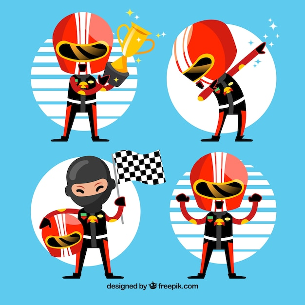 Formula 1 character collection Free Vector