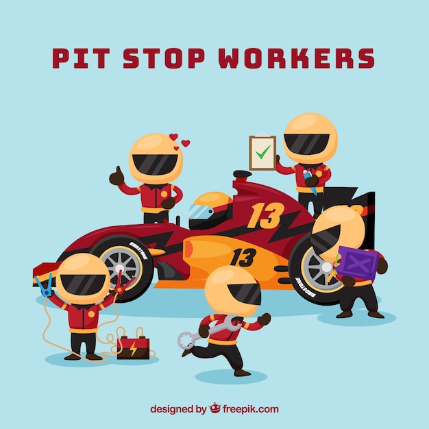 Formula 1 pit stop workers with flat design Free Vector