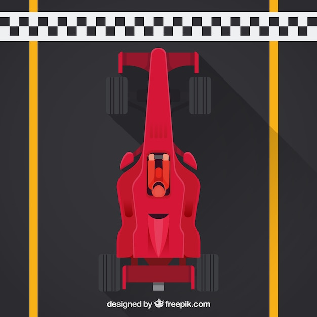 Formula 1 racing car at the finish line with\ top view