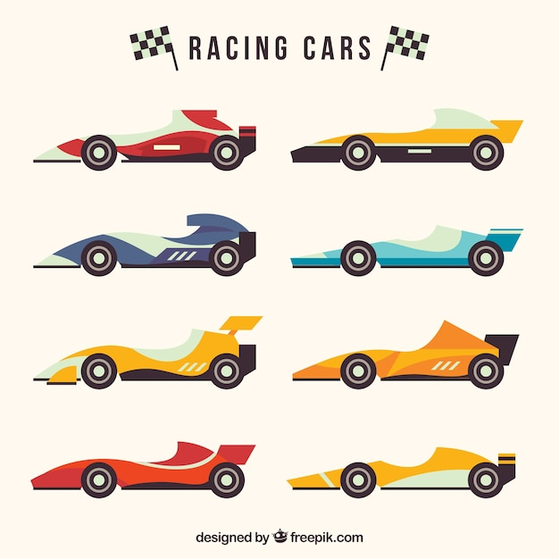 Formula 1 racing car collection with flat design Free Vector