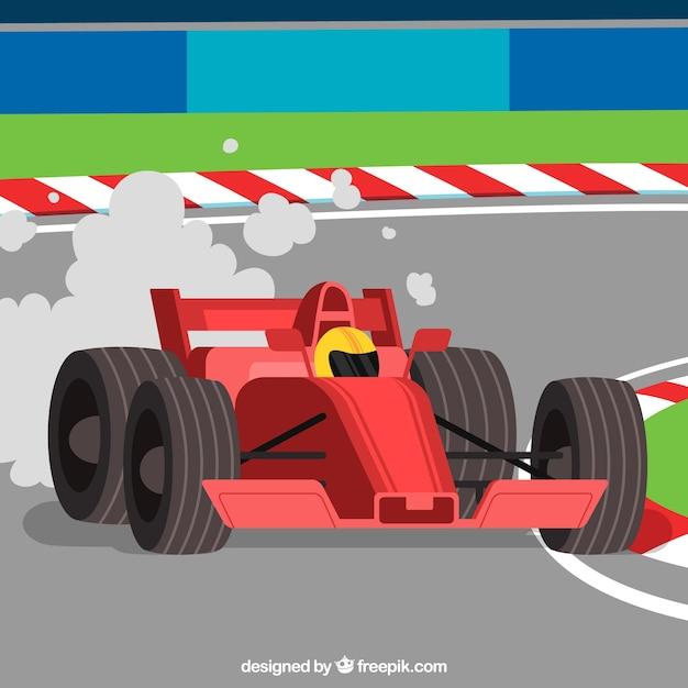 Formula 1 racing car with flat design Premium Vector