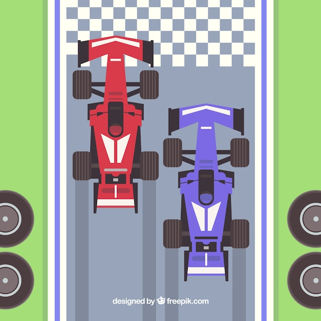 Formula 1 racing cars at the finish line with\ top view