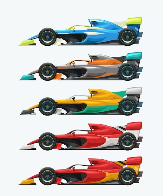 Formula one set side view Premium Vector