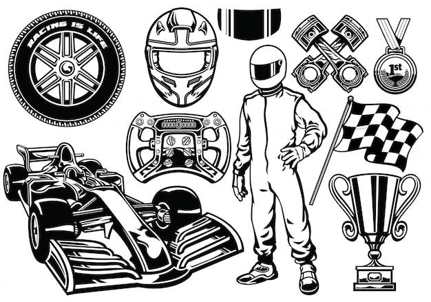 Formula racing set black and white Premium Vector
