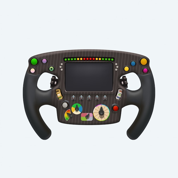 Formula steering wheel on white Premium Vector