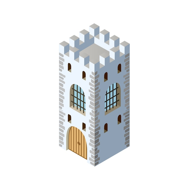 Fort fortress castle isometric Premium Vector
